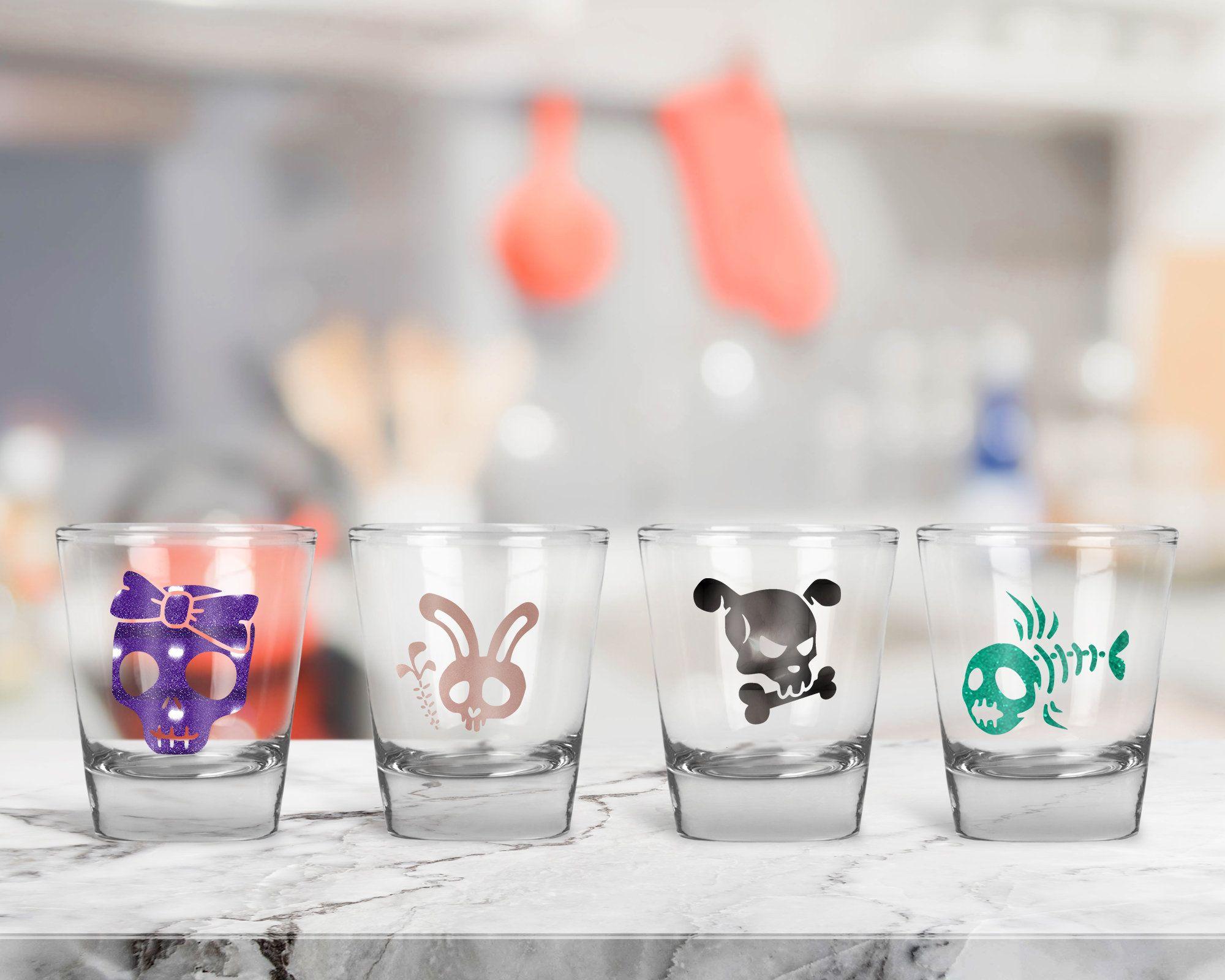 Halloween Shot Glasses, Gothic Shot Glass Set, Cartoon Bones and ...