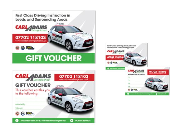 Carl Adams Driving School Vouchers And Business Cards Branding Logo