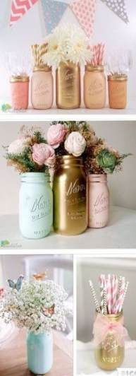 48 Super Ideas For Party Birthday Sweet 16 Mason Jars Pink Mint Gold Baby Shower Themes Girl Shower