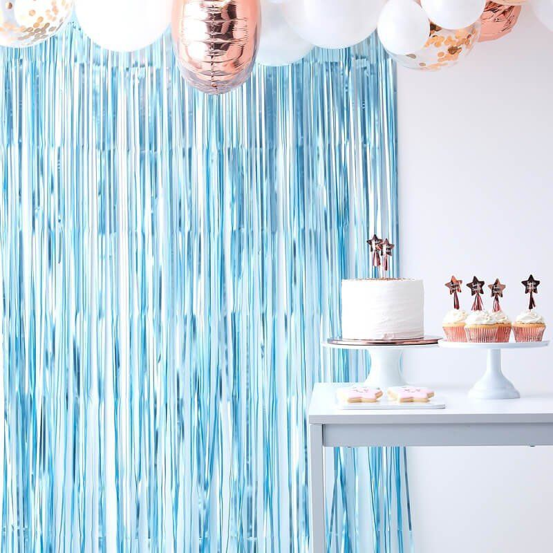 Blue Fringe Photo Booth Backdrop Baby Boy Shower Curtain