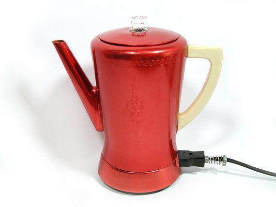 West Bend Coffee Maker Percolator : Vintage Red Aluminum West Bend Coffee Pot Percolator Vintage, Coffee and Etsy
