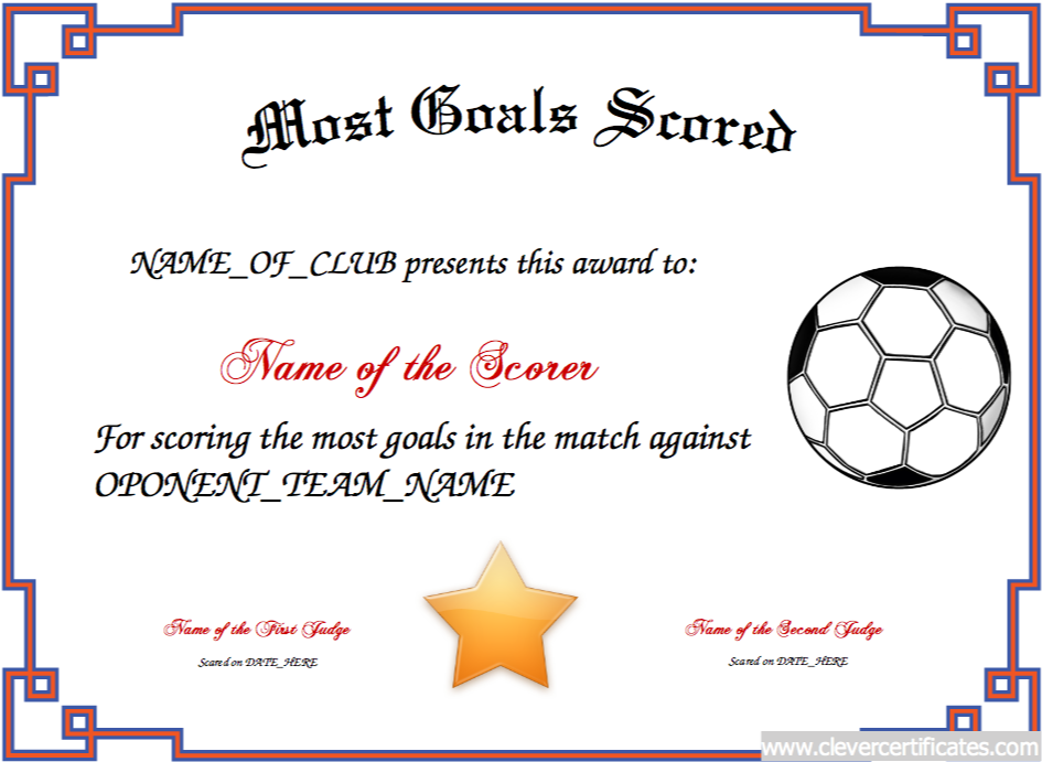 most goals scored free certificate templates for kids sport and