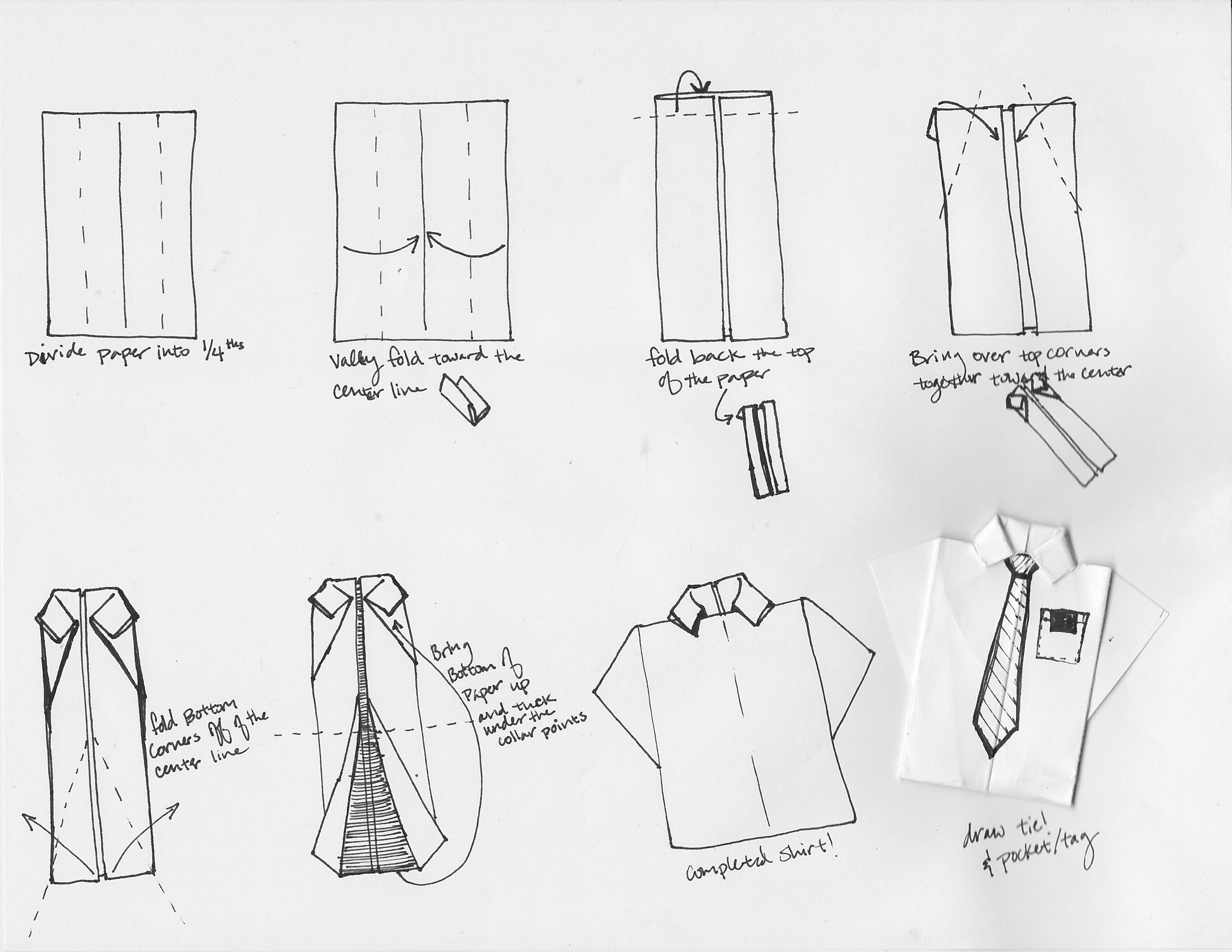 Схема открытки оригами рубашки