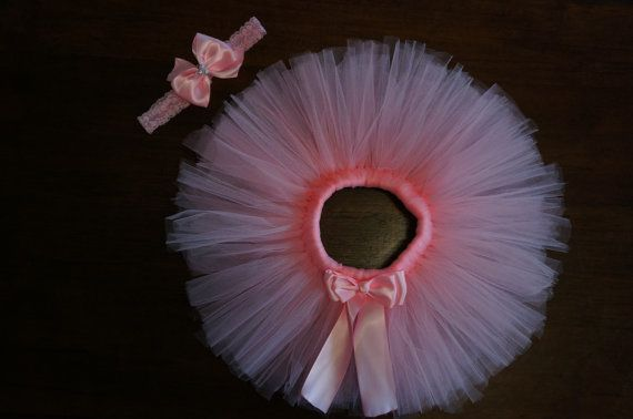Light Pink Tutu and Headband Vintage. Newborn by LinasBowtique, $15.00