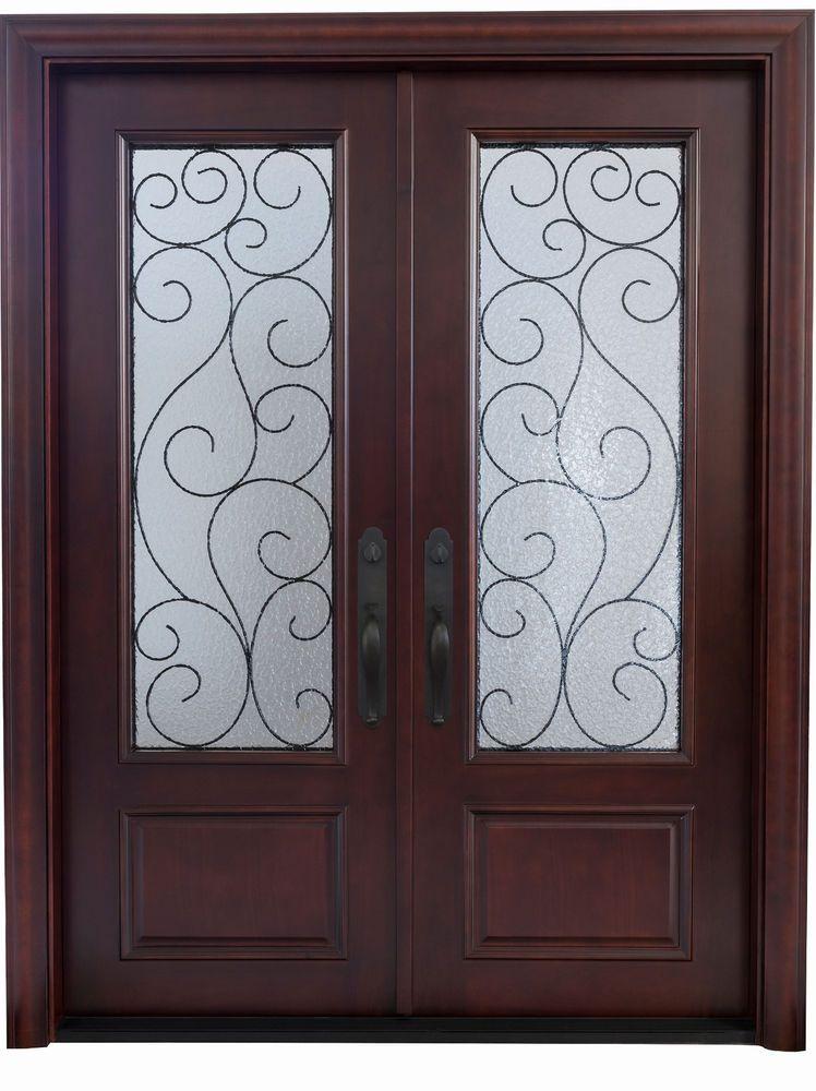 Mahogany Double Front Entry Doors 6 X 8 0 2 3 8 Thick Rustic Doors Ebay Rustic Doors Double Front Entry Doors Front Entry Doors