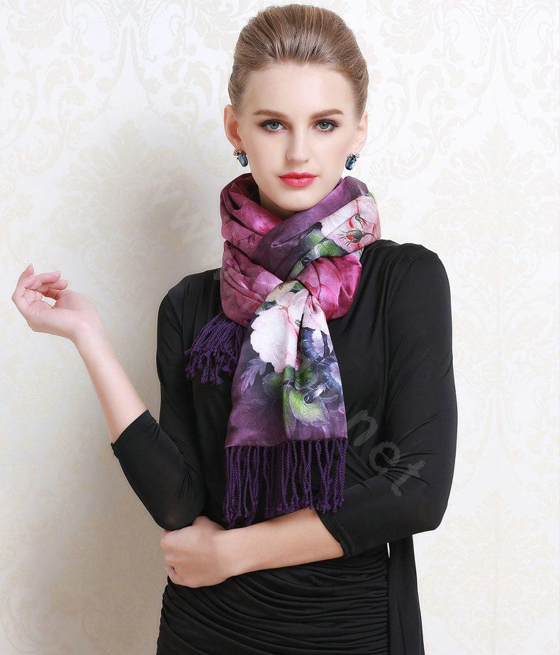 Buy Wholesale Luxury Women Autumn And Winter Warm Long 100 Mulberry Silk Flower Print Scarf Shawl Wrap Purple Ways To Wear A Scarf Scarf Styles Luxury Women