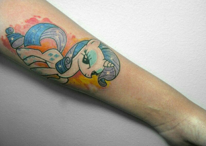 The Little Pony Tattoo  Tattoo done by Bruce RedGrey # Rarity Tattoo #littlepony #rarity #forearmtattoo #watercolor #inked