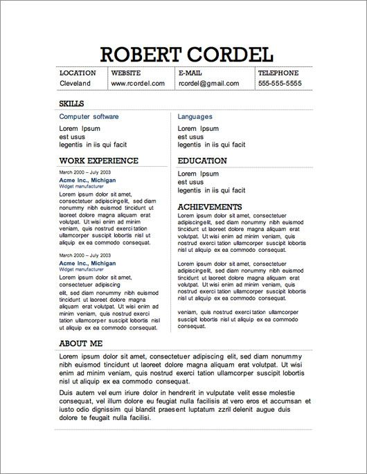 Resume Templates For Microsoft Word Free Download  Sample