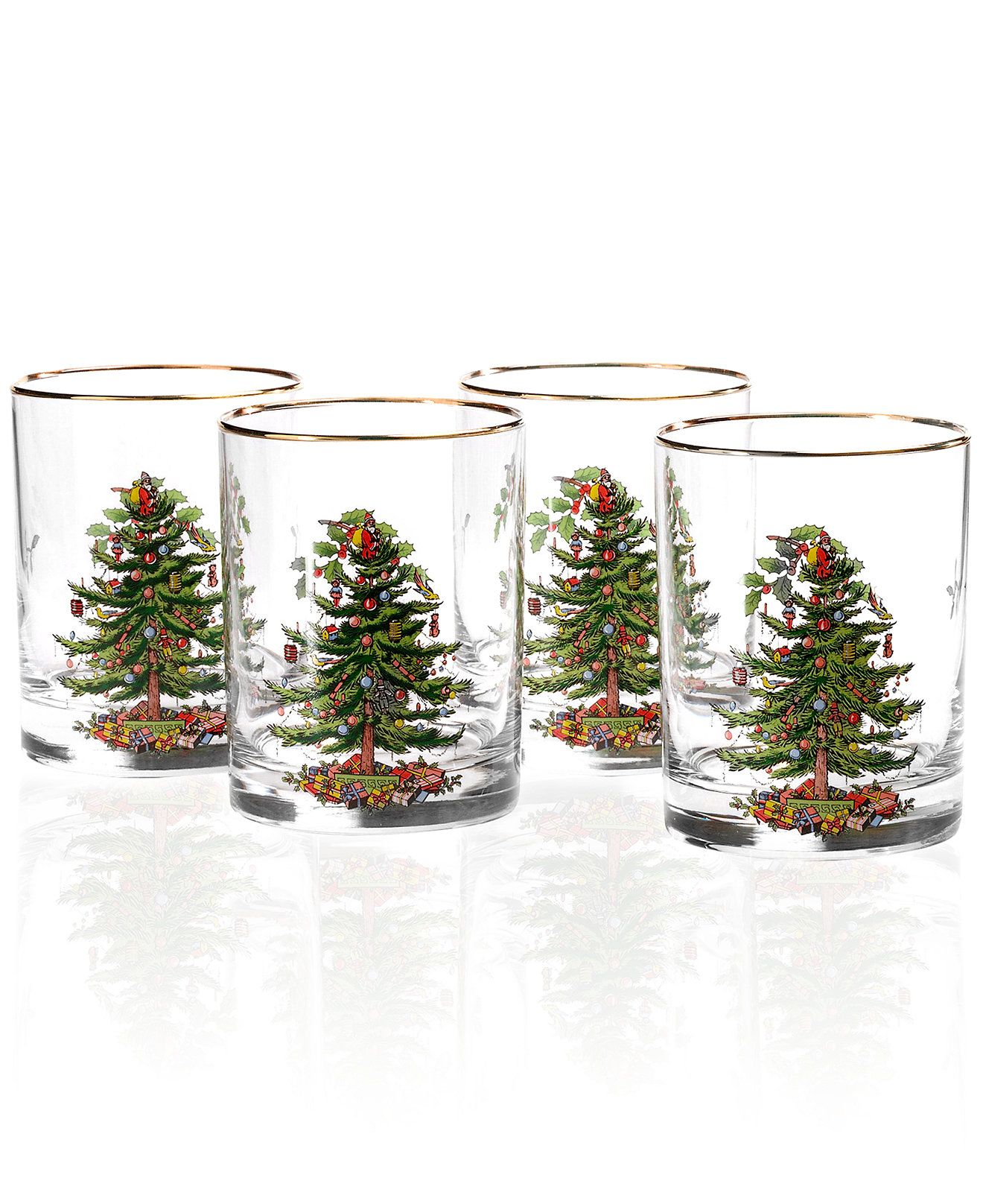 Spode Glassware, Set of 4 Christmas Tree Double Old Fashioned ...