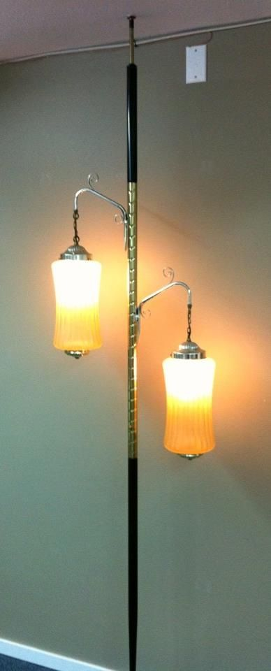 Better pics of our newest mid-century tension pole lamp.