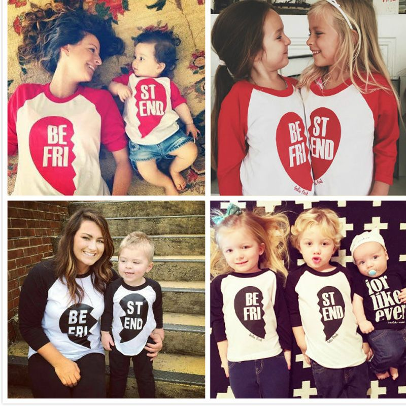 d1542795e7 Valentine Day Clothing Long Sleeve Cotton Family Matching Outfits Spring  Autumn LOVE Children T-Shirts