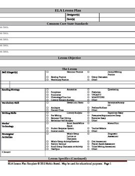 Ela Lesson Plan Template With Embedded Common Core Standards