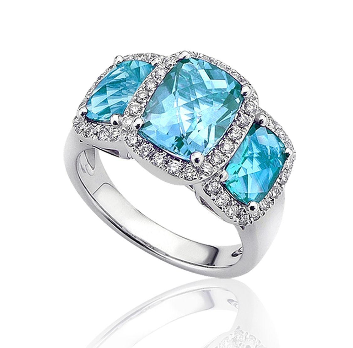Triple Blue Topaz and Diamond Ring
