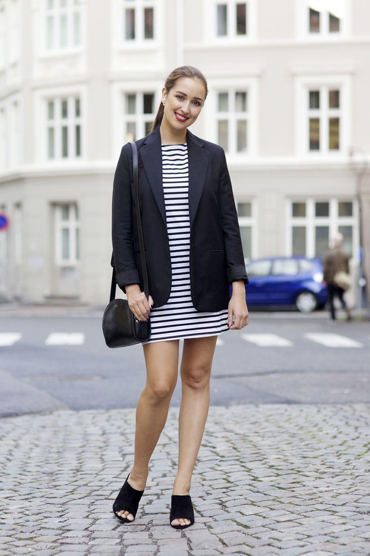 Ingrid Holm red lipstick stripe dress ACNE blazer A.P.C bag mules. More on my blog www.ingridholm.no
