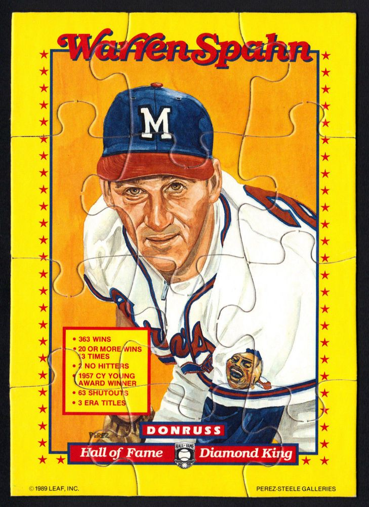 1989 donruss warren spahn complete large puzzle from 10
