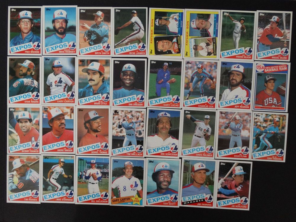 1985 topps montreal expos team set of 31 baseball cards