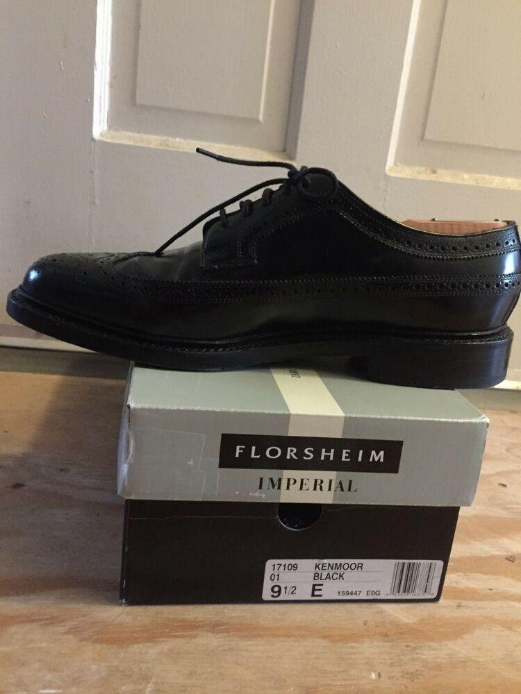Imperial Florsheim Mens Shoes  Kenmoor Wingtip Leather Black 17109-01