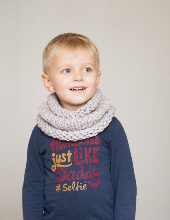 Children's chunky cowl scarf // grey neckwarmer by OnwardOnward