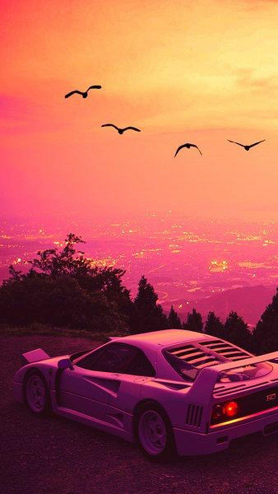 Car Vehicle Ferrari F40 Sports Car Supercar Sky In 2020 Vaporwave Retro Futurism Retro Waves