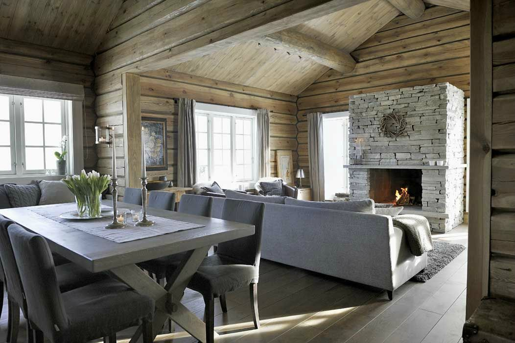 un chalet ultra cosy sonia saelens d co salon salle manger pinterest mur de pierre. Black Bedroom Furniture Sets. Home Design Ideas
