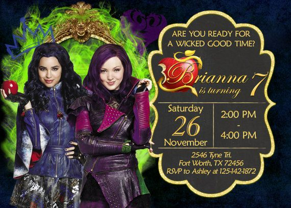 Descendants Invitation Birthday Party