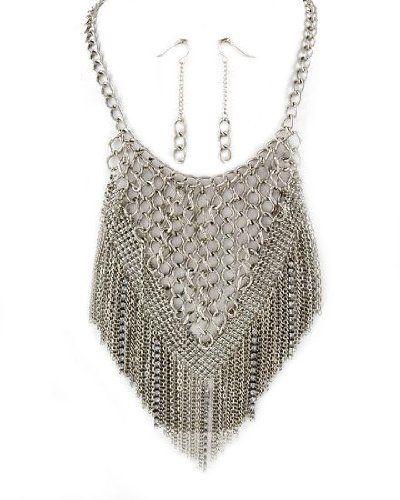 Chain Festoon Bib Necklace Pierced Earrings Set Silver Tone Bohemian Jewelry Lane $25.99,http://www.amazon.com/dp/B00C7VTG5K/ref=cm_sw_r_pi_dp_wqXxrbFDEDA04192