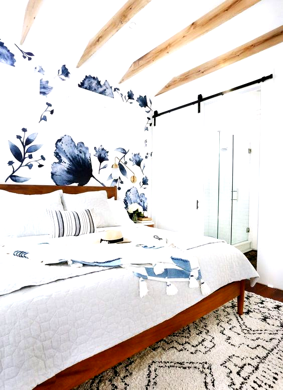 This gorgeous eclectic blue master bedroom was a huge makeover for my clients re…