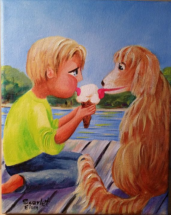 Check Out Artist Painting Home Decor Boy Eating Ice Cream