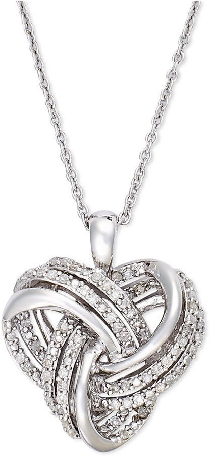 4220a9a5c Wrapped in LoveTM Diamond Heart Pendant Necklace in Sterling Silver (1/4  ct. t.w.) on shopstyle.com