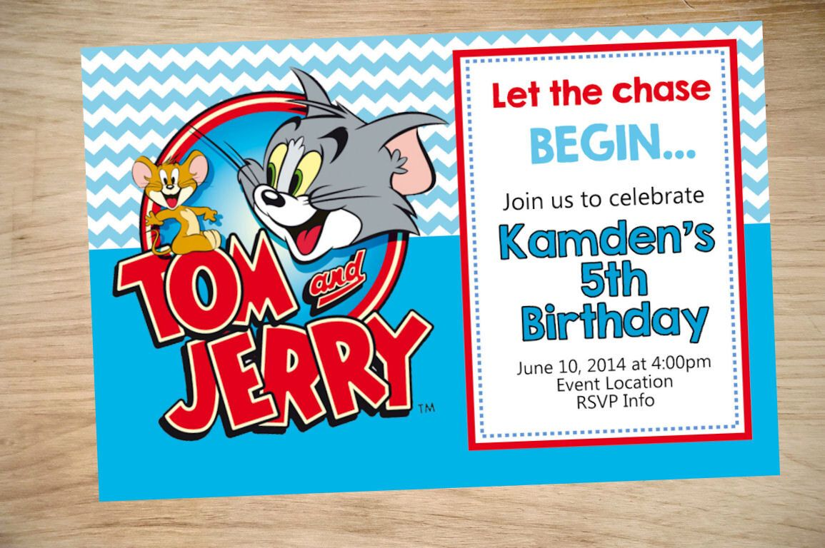 Dorable Tom And Jerry Birthday Invitations Vignette Invitations