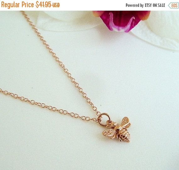 Tiny Rose Gold Bee Necklace Honey Bee Bumble Bee on 14k Rose Gold