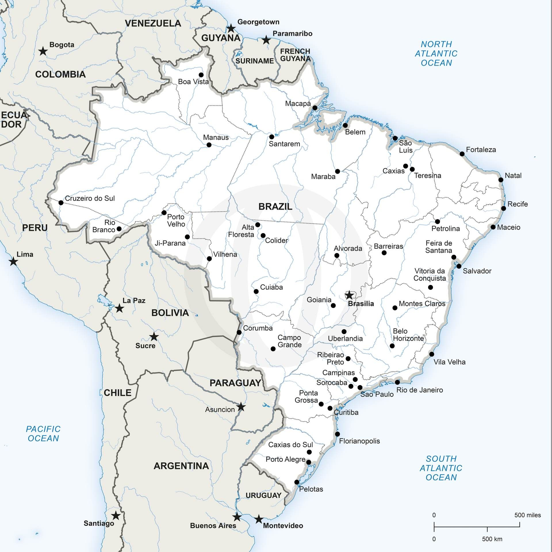 Vector Map of Brazil Political Vector format and Brazil
