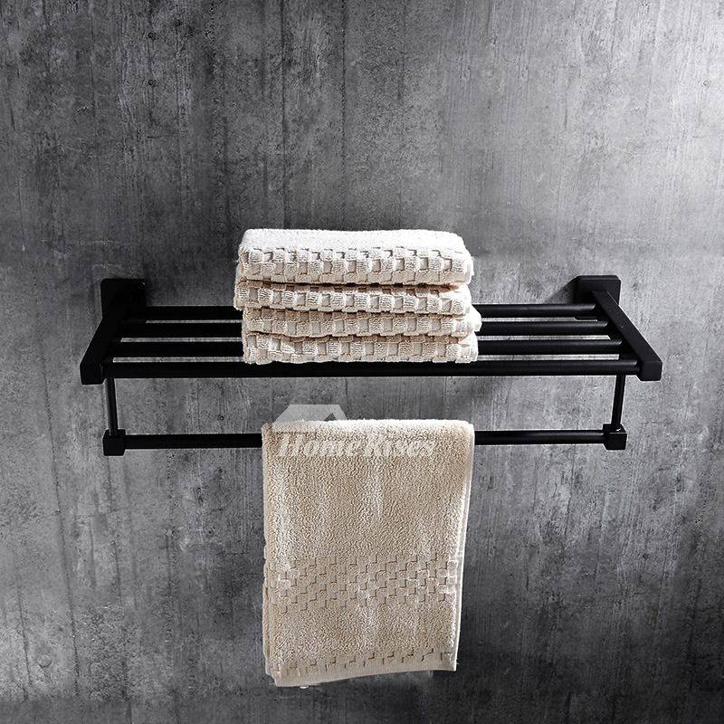 Solid Oil Rubbed Bronze Towel Rack Shelf Black Bathroom Towel