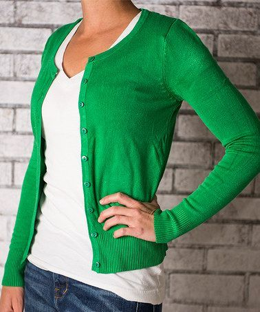Look what I found on #zulily! Kelly Green Button-Up Cardigan ...