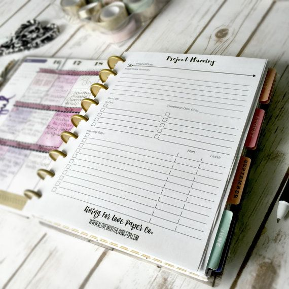 Project Planning Inserts, Happy Planner Insert, Goal Tracker - project planning