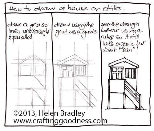 how to draw a beach hut on stilts aka beach house or bathing box - Beach House Drawings