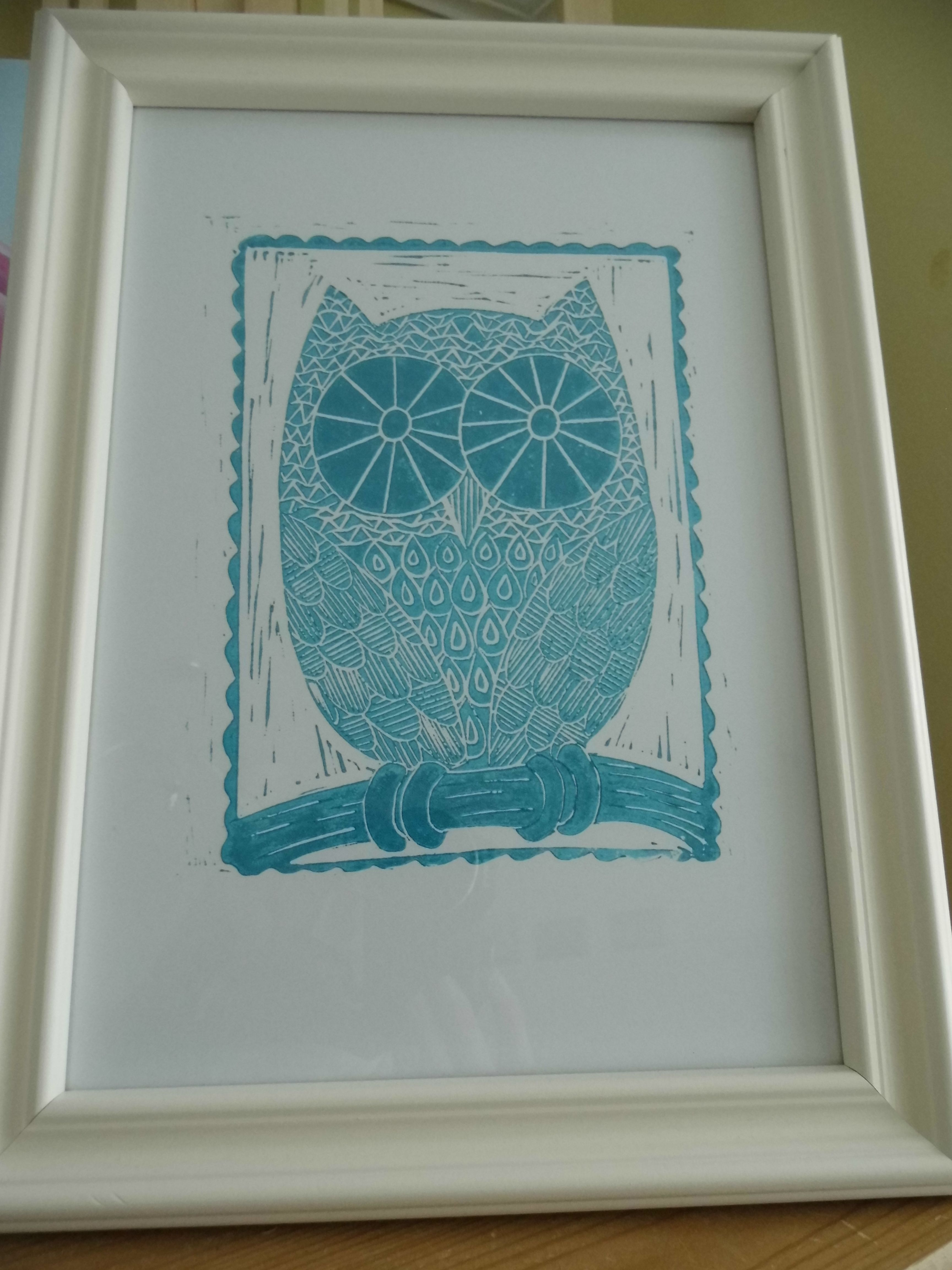 Turquoise Owl Original Linoprint Signed And Dated 10 P