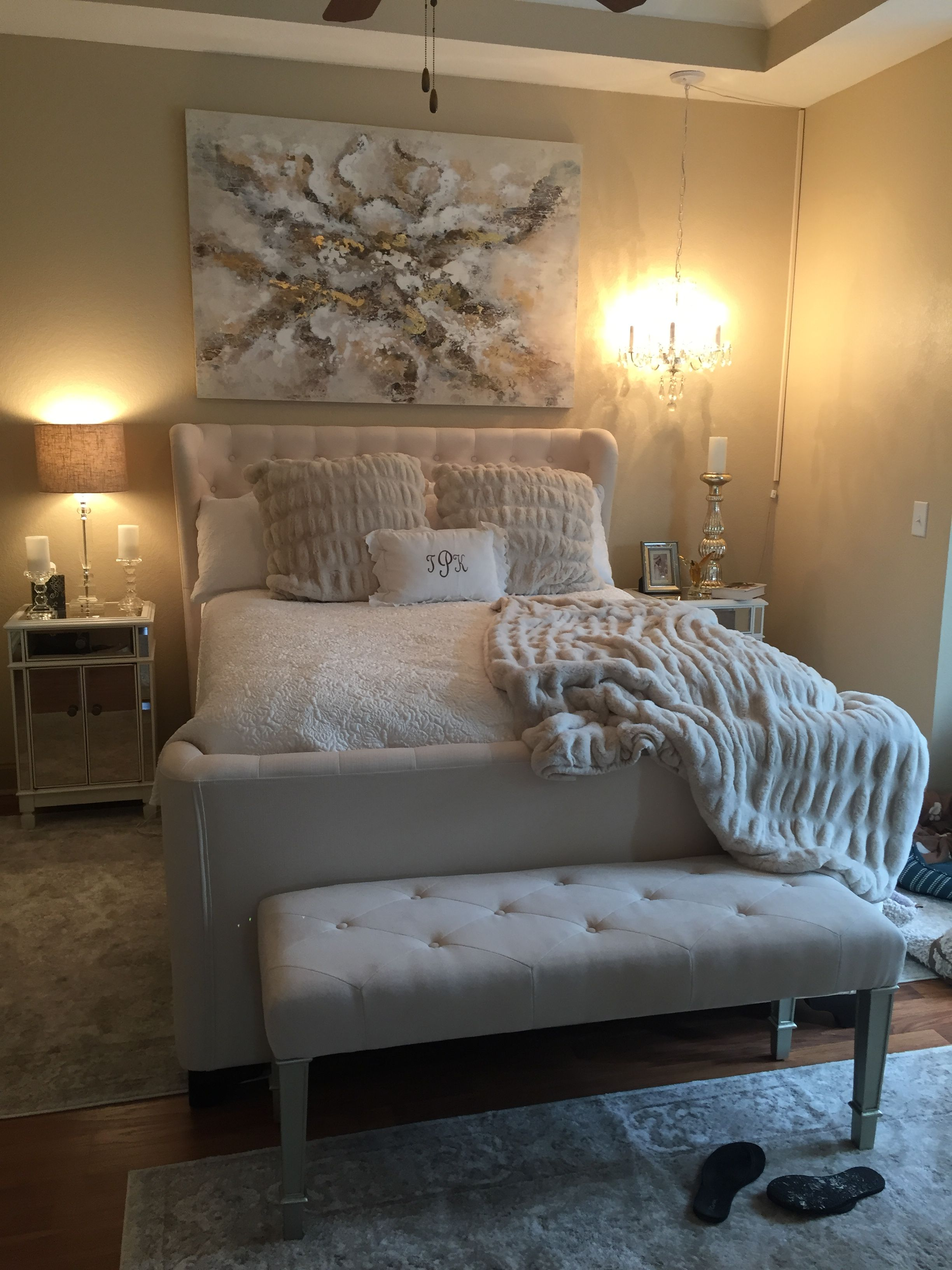 Pier One bedroom with my Mom's chandelier (With images ...