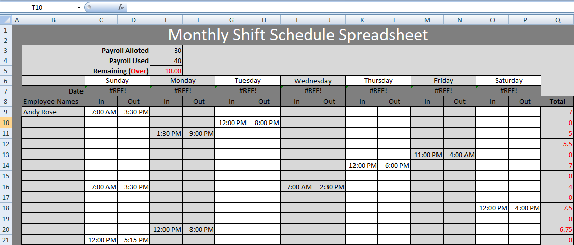 Get Monthly Shift Schedule Spreadsheet Templates  Excel