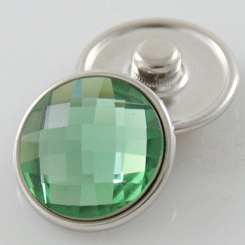 1 PC - 18MM Green Rhinestone Silver Charm for Snap Jewelry KB2701-aj CC3169