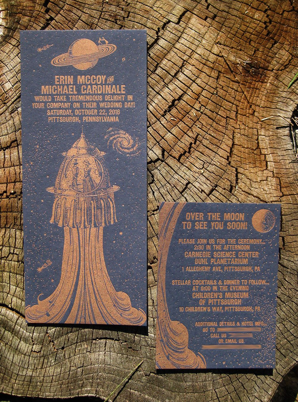 Steampunk Space Travel Custom Letterpress Wedding Invitation Suite