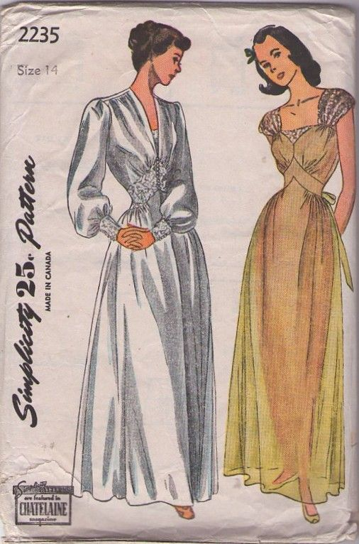 Simplicity 2235 Vintage 40s Nightgown Peignoir Sewing Pattern A Fave Of Momspatterns Nightgown Pattern Vintage Sewing Patterns Vintage Dress Patterns