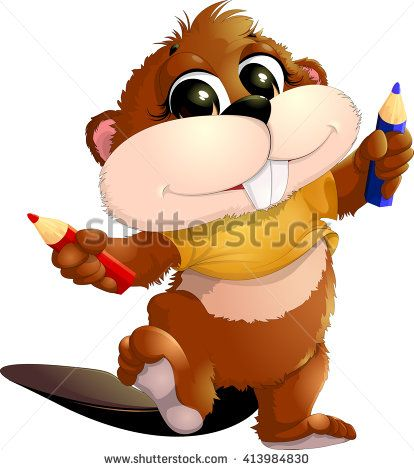 beaver with pencils - stock vector