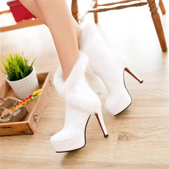 Handmade white fur trim ankle boots winter by weddingdressoverture ...