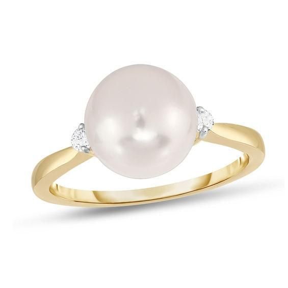 Zales 8.0 - 8.5mm Cultured Freshwater Pearl and 1/20 CT. T.w. Diamond Ring in Sterling Silver 9jxhE