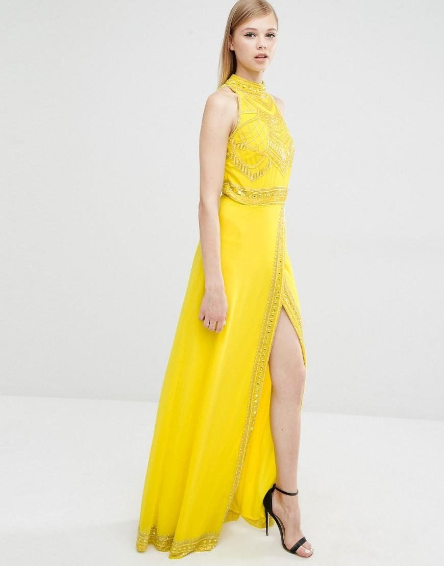 Excelente Vestidos De Fiesta Amarillo De Menos De 100 Dólares Fotos ...
