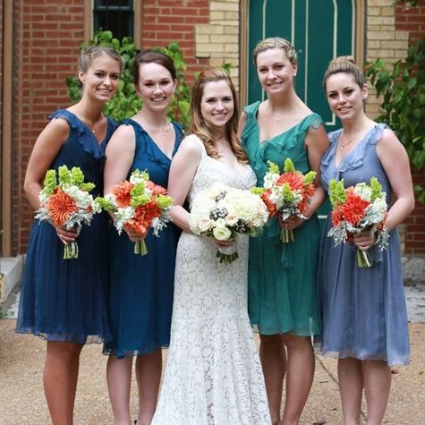 Dave's Bridal Bridesmaids Dresses | ... gown, blue dresses, orange and green ... | Meredith and Dave's w