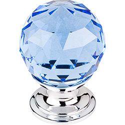 "Blue Crystal Knob 1 1/8"" w/ Polished Chrome Base #BlondyBathHome #Knobs #Handles #Pulls"