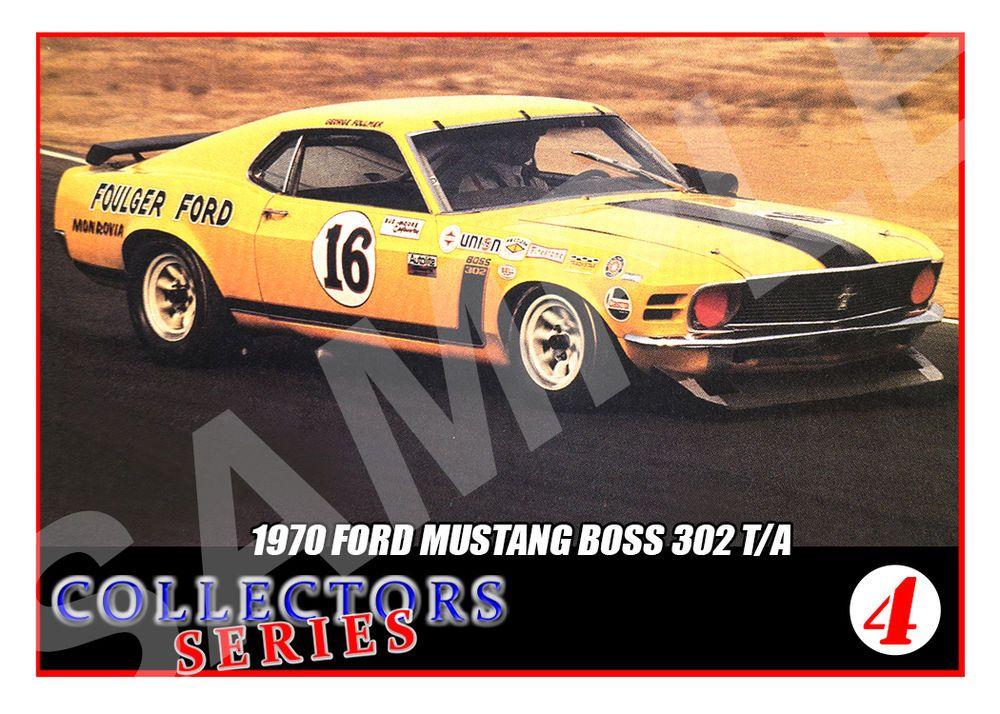 1970 Mustang Boss 302 #16 Trading Card- SCCA Racing Trans Am ...