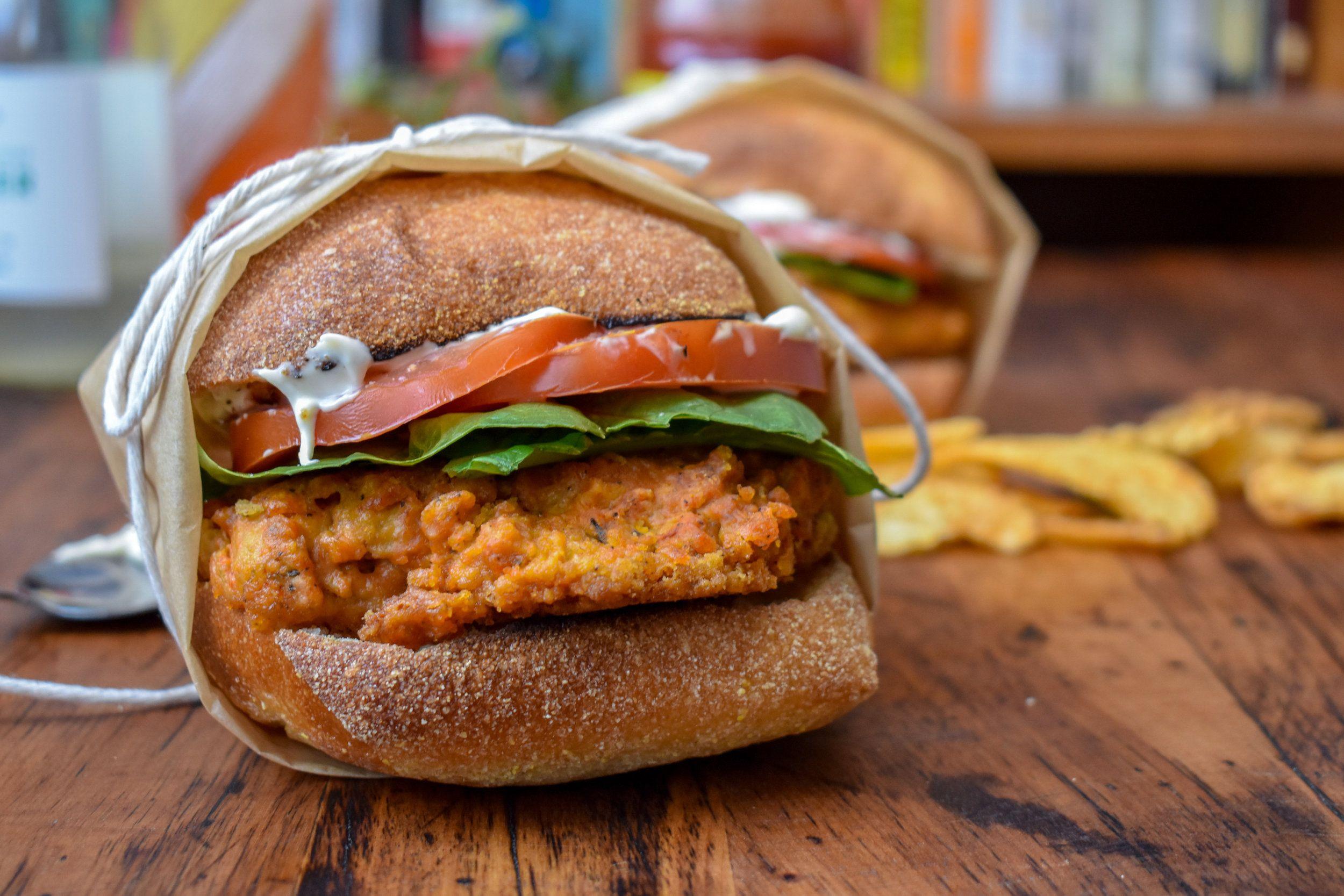 Vegan Wendy S Mock Spicy Chicken Sandwich W Meatfree Breaded Chicken Patty The Vegan Caveman Recipe Vegan Fried Chicken Spicy Chicken Spicy Chicken Sandwiches